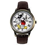 ディズニー 腕時計 メンズ レディース スワロフスキー 腕時計 ブラウン シリアルナンバー入り ユニセックス ミッキーマウス ウォッチ 本革 ヴィンテージ ミッキー ボーイス (ブラウン×GDフェイス) [並行輸入品]