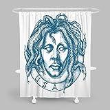 MuaToo Badezimmer-Duschvorhang, mysteriöser Mann Porträt mit Schlangen an statt der Haarzeichnung, Bad-Dekor, Polyester-Stoff mit Haken, 183 x 198 cm, weiß & blau