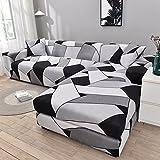 MKQB Funda de sofá elástica geométrica para Sala de Estar, Funda de sofá de Esquina combinada en Forma de L, Funda de sofá Todo Incluido Antideslizante NO.2 2seat-M- (145-185cm