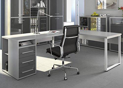 moebel-dich-auf Maja Eckschreibtisch Winkelschreibtisch Schreibtisch Set Plus 1675 1679 Büromöbel in Platingrau/Grauglas Schenkelmaß 120x220 oder 220x120