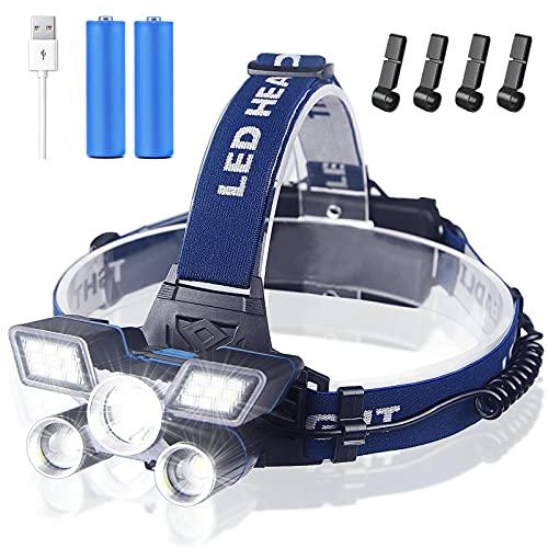 Soft Digits Stirnlampe LED, Superheller Kopflampe 21 LED 9 Modi 18000 Lumen USB Wiederaufladbare Stirnlampe mit Rotem Warnlicht, Stirnlampen LED Wasserdicht für Camping Angeln Joggen Wandern Arbeiten