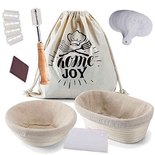 Banneton Bread Proofing Basket Set, 2 Shapes - 9inch Round & 10inch Oval Bread Basket-Brotform Bread Making Tools Includes Linen Liner, Dough Scraper, Scoring Lame and Blades, Bread Stencils And Bread Bag for Home Bakers