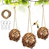 Skylety 3 Pieces Hummingbird Nesting Houses Refillable Bird Nest Hanging Balls Holder with Extra 24 Inch Long Rope and 3 Hooks for Outdoor Hummingbird Parrot Chewing Playing