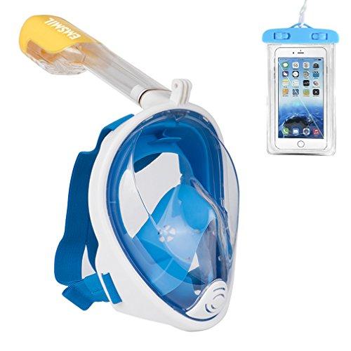 Emsmil Máscara de Buceo para Snorkel 180 Vista Panorámica Fácil Respiración Máscara Completa Anti-Niebla y Anti-Fugas Soporte Cámara GoPro con Bolsa de Teléfono Impermeable para Niños Adultos Azul