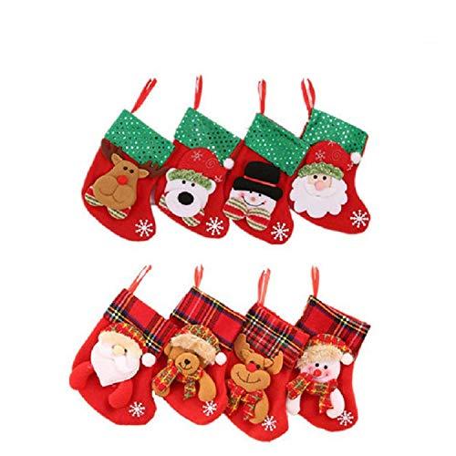LIZHIGE Retro-Weihnachtsstrümpfe,8 Set Mini Weihnachtsstrumpf, Nikolausstiefel zum Befüllen & Aufhängen,Hängende Strümpfe für Weihnachtsdeko
