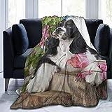 SUHETI Manta de Franela Suave,Perro Cocker Spaniel Americano,Cama de Camping para sofá 153x127cm