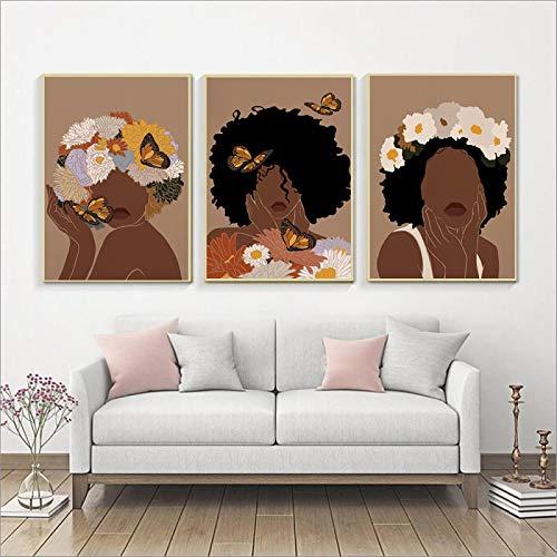 dsdsgog Moda Mujer Africana Impresiones artísticas Cabeza Flor Mariposa Afro Mujer Negra Chica Cartel Lienzo Belleza Cuadros de Pared pintura-30x40cm 3 Piezas sin Marco