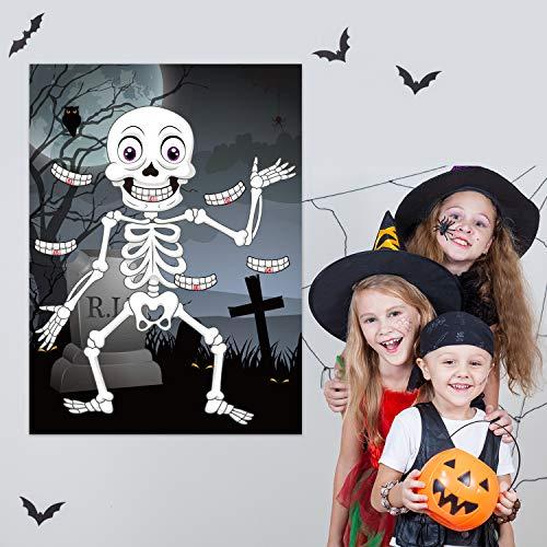 FEPITO Pin The Teeth on The Skeleton Skull Halloween Party Game con Adesivi per Denti 24 Pezzi per bomboniere di Halloween, Decorazioni di Halloween