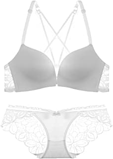 Care Bra Set Sexy deep V Hollow no Trace Comfortable lace Pattern Underwear, no Steel Ring, Adjustable Chest Type, Front B...