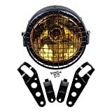 Set 6-1/2'' Round Amber Lens Headlight + Metal Mesh Grille Cover + 35mm-43mm...