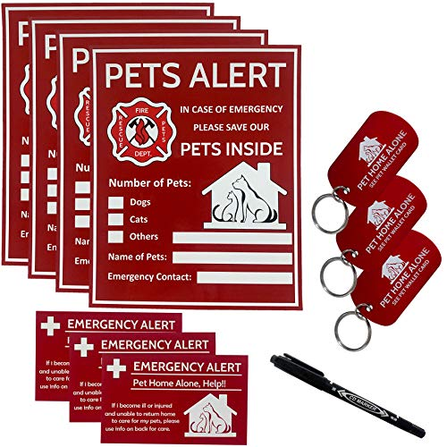 Pets Alert Pets Inside Sticker-Pets Safety Alert and Rescue-If Case of Emergency,Succor can See Alert on The Window,Door,or House to Rescue Your Pets Inside-4 Pack with Wallet Card & Key Tag