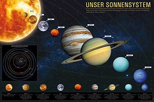 1art1 Das Sonnensystem Poster - Unser Sonnensystem für Kinder und Erwachsene, Weltall Universum XXL Poster, Kosmos Fotoposter 120 x 80 cm