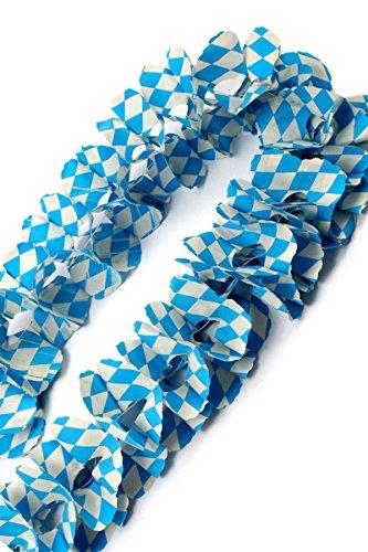 Sirlande met grote Beierse slinger, circa 24 cm x 10 m, kleur blauw wit, bavariashop, decoratie voor feestjes, verjaardagen, tuin en balkon, moeilijk ontvlambaar