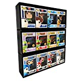 3 Single Row in Box Display Cases for 4 in. Vinyl Collectible Toy Figures, Black Cardboard