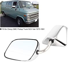 Qiilu Stainless Steel Manual Side View Mirror Front Left/Right Pair Set Fit for Chevy GMC Pickup Truck SUV Van 73-91 GM1320103-K71 12930528-K71