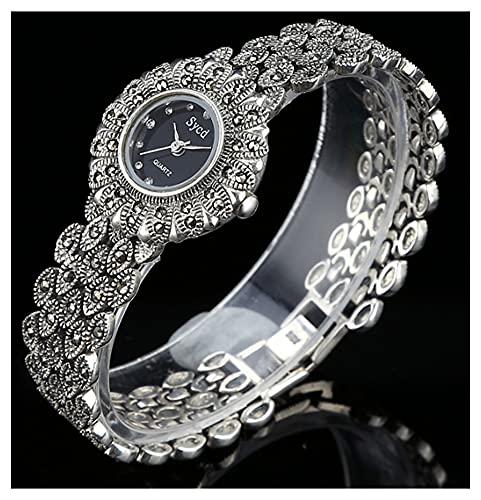 CHXISHOP Pulsera de Mujer Reloj 925 Sterling Silver Vintage Reloj de Cuarzo Diseño Oval Diseño Reloj de Piedra Gótico Reloj black-17cm