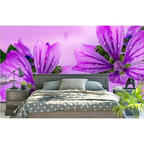 3D Wallpaper Flower Photo Wandbild für Sofa TV Hintergrund Chinese Purple Floral Wallpaper Wandbild-350x210cm