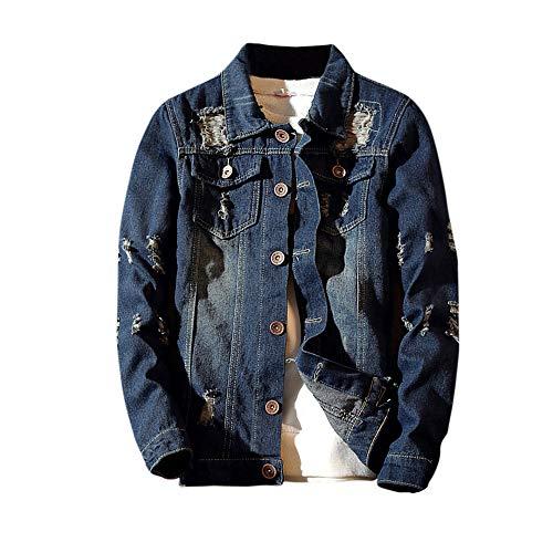 Mens Jacket! Pervobs Men's Autumn Winter Vintage Casual Wash Distressed Denim Jacket Coat Top Blouse(L, Blue