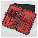 Conjunto De Manicura Scissors Nail Clippers Set Dead Skin Pliers Nail Cutting Pliers Pedicure Cuchillo Groove Nail Manicure Herramienta Kit De Tijeras De Uñas ( Size : Upgraded 10 Classic Black )