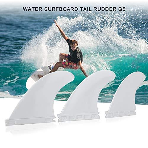 AYNEFY - Juego de 3 Aletas para Tabla de Surf, Aletas de Tabla Larga, Aletas de Nailon, Tablas de Surf, Blanco