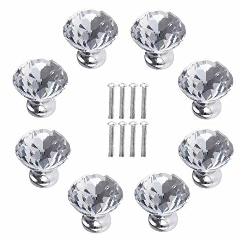 FBSHOP(TM) 30MM 8 stks Kristal Acryl Glas Diamant Gesneden Deurknop Kast Lade Trekhengsel/Geweldig voor Cupboard, Keuken en Badkamer Kasten, Rolluiken, Kledingkast Helder