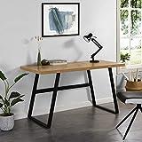 <span class='highlight'>Cherry</span> <span class='highlight'>Tree</span> <span class='highlight'>Furniture</span> KLOTEN Oak Effect Desk with Black Metal Legs 140 x 60 x 75 cm