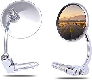 Universal Motorrad spiegel, 7/8'' 22mm Runde Rückspiegel lenkerendenspiegel E Geprüft E Mark rückspiegel für Scooter Cruiser Chopper Street Bike CB1300 MT07 MT09 XJR1300