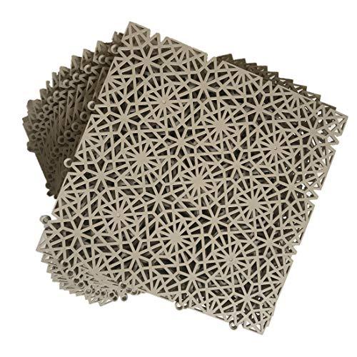 smabee - Juego de 12 alfombrillas de drenaje antideslizantes de PVC, 29,8 x 29,8 cm, para drenaje, piscina, ducha, baño, cocina, terraza, barco, forma de copo de nieve (Khaki)
