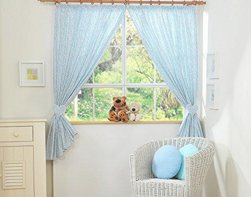 Paire de rideaux de chambre d'enfant avec embrases - Liberty bleu et vert - Fabrication européenne