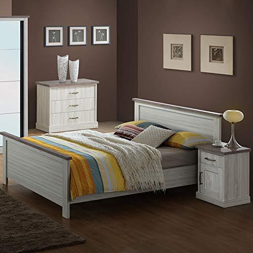 Bett 140 x 200 cm, Farbe Eiche hell und Braun Elaura