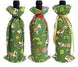 Perilla Fire Happy Bull Terrier - 3 fundas para botellas de vino de Navidad clásicas bolsas de champán para decoración de mesa de vacaciones