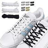 Newseego 結ばない靴ひも フラット靴紐 3足セット伸縮性 ポリエステル糸製 メタルターンバックル 靴の着脱を簡単に 簡単取り付け 子供から高齢者までも使う 金属カプセル 時間節約 スニーカー ブーツ カジュアル シューズ ホワイト+ホワイト+ブラック