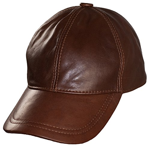 Dazoriginal Leather Baseball Cap Genuine Leather Peak Hat Unisex Trucker Hiphop (Light Brown)