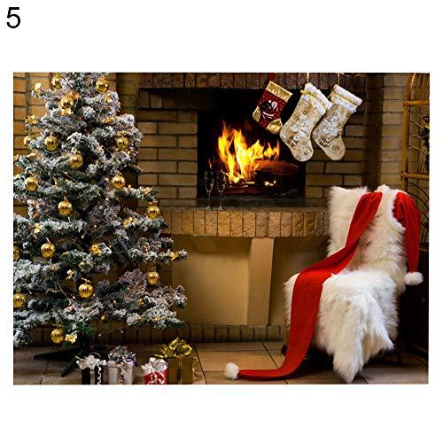 KingbeefLIU Tapiz De Pared De Navidad, Decoración del Hogar De Tela De Fondo De Fotografía De Chimenea 5