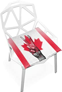 TSWEETHOME Comfort Memory Foam Square Chair Cushion Seat Cushion with Canada Flag Peace Hand Chair Pads for Floors Dining Office Chairs