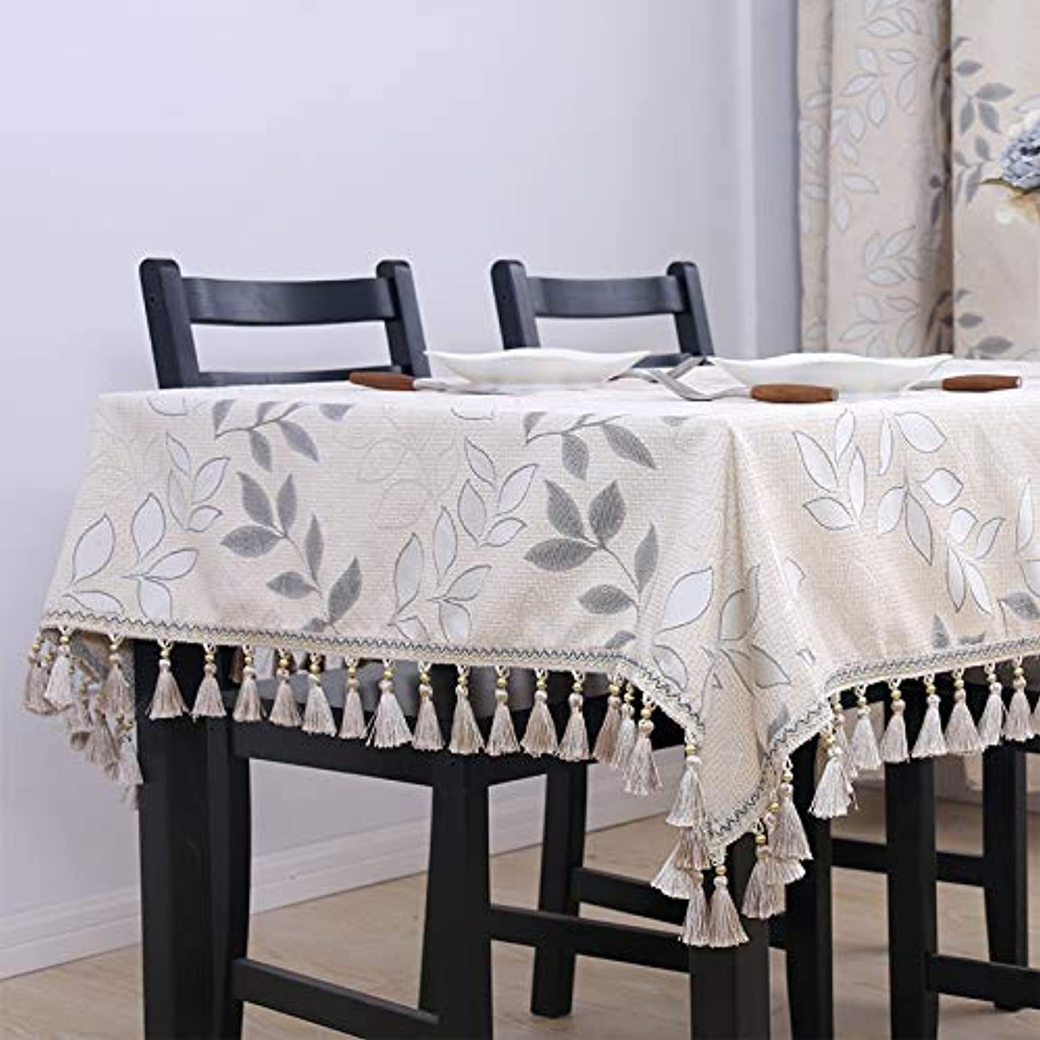 Tablecloth fabric placemat European table cloth rectangular living room household coffee table tablecloth square tablecloth round tablecloth, beige, 140160cm (including hanging ear 10cm each side)