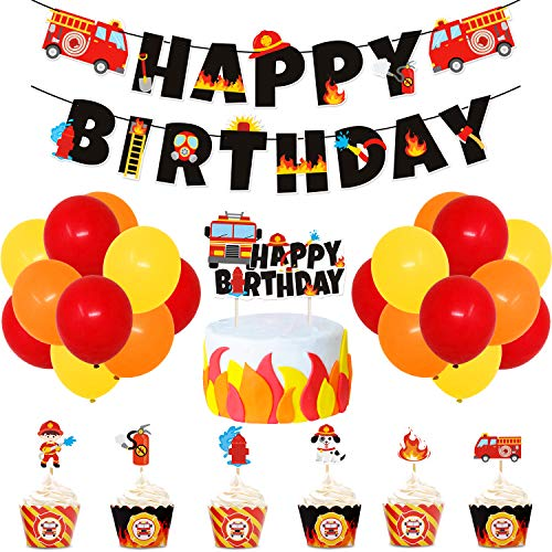 Fire Truck Birthday Party Supplies Fireman Banner Cake Topper Firefighter Cupcake Toppers and Wrappers Latex Balloons for Boy's Birthday Fire Engine Rescue Theme Party Decorations