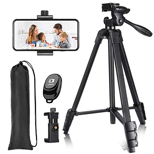 57 inch Phone Tripod, Lightweight Tripod Aluminum Portable Smartphone Tripod with Phone Holder & Remote Shutter and Carry Bag for Travel & Video Shooting - Black