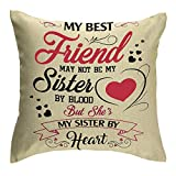 Jimrou Throw Pillow Cover 18x18inches Festival Gifts to Best Friends May Not Be My Sister by Blood Love Quote Cotton Linen Decorative Home Sofa Chair Car Square Throw Pillow Case Cushion Cover