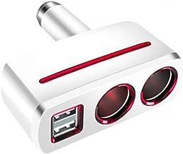 2-Socket Cigarette Lighter Adapter Socket Splitter Separate Switch with LED Battery Dual USB Car Charger