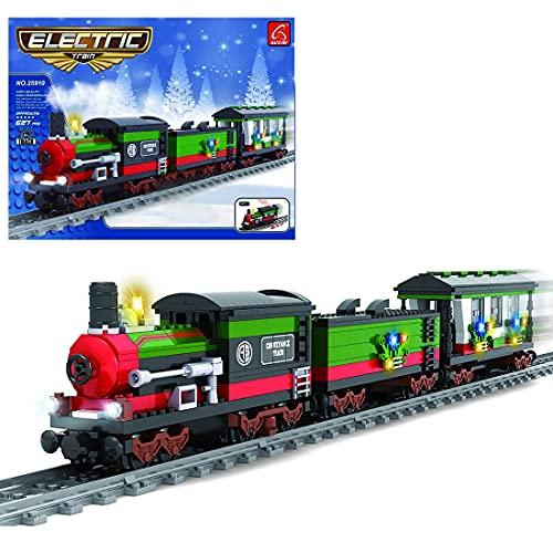 City Cargo Train Set, 627 pcsTechnical Electric Train Building Set con Motores y camión, Compatible con Lego