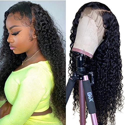 Human Hair 13X4 Lace Front Wigs Pre Plucked With Baby Hair Grade 8A Unprocessed Peruvian Virgin Hair 130 Density Bleached Knots Curly Wig For Women Natural Color 14 Inch …