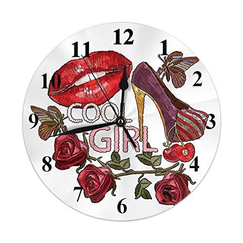 Reloj Floral Cool Girl Labios Rojos Tacones Altos Mariposa Hoja Rosa Flor Cerezo Reloj de Pared Redondo Slient No tictac Decoración rústica para el hogar 10 Pulgadas para Cocina Baño Oficina