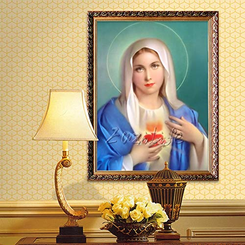 DIY Malen nach Zahlen Art-Deco-Gemälde des Heiligen Herzens der Jungfrau Maria malen nach Zahlen Erwachsene Mit Pinsel und Acrylfarbe Kits Theme Digital Home Wa40x50cm(Kein Rahmen)
