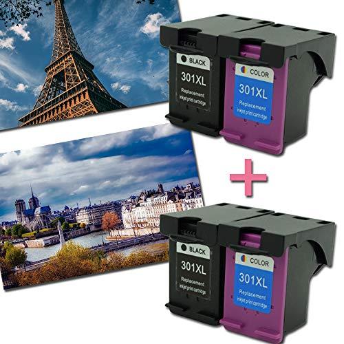 Caidi Remanufactured printercartridges vervanging voor HP 301 XL 301XL compatibel met HP Envy 4500 5530 4507 Deskjet 2540 1510 2547 1050a 2549 Officejet 4630 2620 printer 2Noir+2Couleur