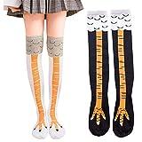 Novedad Calcetines Calcetines de pierna de pollo, 2 pares de calcetines de algodón elásticos hasta la rodilla de Halloween, divertidos calcetines de Navidad de Halloween para disfraces de cosplay