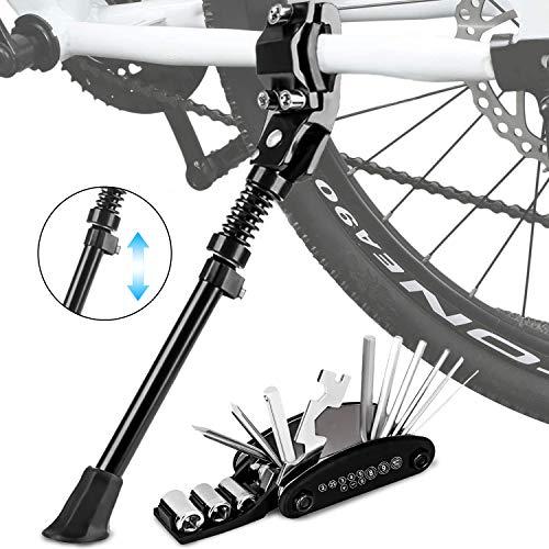Fahrradständer - Fahrrad Ständer Seitenständer Faltbarer Einstellbarer Universal Hinterbauständer Mountainbike Zubehör für 24-29 Zoll Trekkingrad Fahrräder Klapprad mit Rutschfester Gummiständer