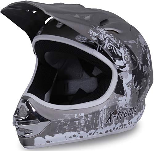 Actionbikes Motors Motorradhelm X-treme Kinder Cross Helme Sturzhelm Schutzhelm Helm für Motorrad Kinderquad und Crossbike Modell Design 2015 in dunkel grau Matt (X-Large)