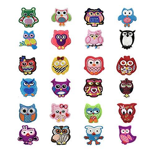 Lumanuby 24x Stickerei Eule Aufnäher für Mädchen oder Jungen Kleidung Als Pullover Hoody Mantel Jeans oder T-Shirt, Owl Patch, Aufnäher Serie Size Wie Gezeigt