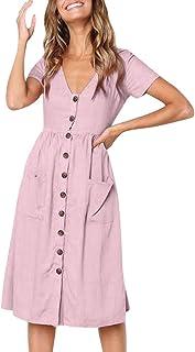 Dubocu LLC Women's Holiday Summer Beach Solid Short Sleeve Buttons Party Dress